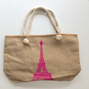 Paris themed burlap and rope tote!!